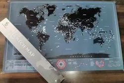 Laminated Paper Maps Scratch Off World Travel Map