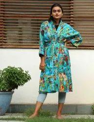 Turquaise Frida Kahlo Print Short Kimono Robe