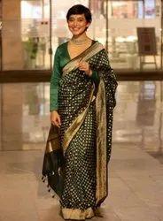 Present Soft Lichi Silk Designer Saree With Blouse Piece