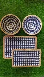 Wooden Blue Serving Platter