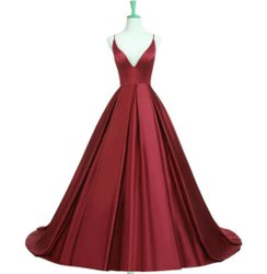 Party Wear Maroon Prom Dress Gown