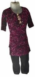Embroidered Silk Girl Party Wear Dress, Size: S, M