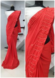 Dharti Bandhni Women''s Sana Silk Moti Work Sari With Banglory Silk Unstitched Blouse