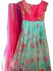 Pink and Sky Blue Stitch Kids Party Wear Long Gown, Age Group: 10-12 Years