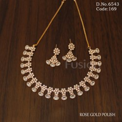 Fusion Arts American Diamond Rose Gold Necklace Set