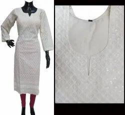 Cotton Formal Wear Ladies Chikankari Kurti, Wash Care: Handwash