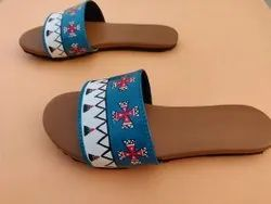 Flat custom Hand Painted Waterproof Ladies Sandal, For Daily, Size: 36-41