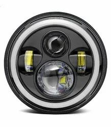 AllExtreme 7 Inch Full Ring  LED Headlight with Hi/Low Beam and Angel Eye Lamp 1 pc 75w