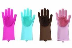 Silicone Scrub Cleaning Dish Washing Gloves, Design/Pattern: Plain