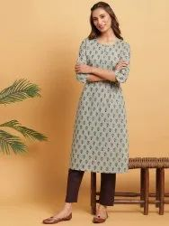 Janasya Women's Green Cotton Kurta(JNE3623)
