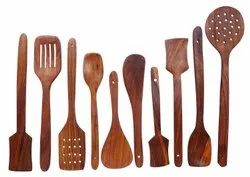 5 Pieces Brown Sheesham Wood Spoon Set, For Kitchen and Restaurant