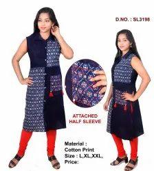 Cotton Formal Wear Ladies Sleeveless Kurti, Wash Care: Handwash