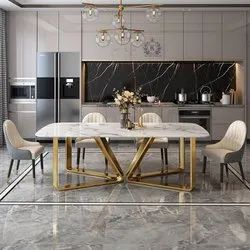 Royal Triangle Shaped 6 Seater Dining Table Steel With Thick Marble on Top