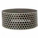 Honeycomb Noire Bone Inlay Round Coffee Table
