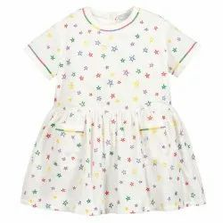 White Printed Girls Cotton Frock, Age Group: 5 Years