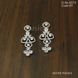 Fusion Arts American Diamond Silver Hanging Earring