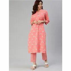 Divena Pink Flower Cotton Suit Set
