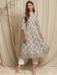 Janasya Women's Green Cotton Kurta(JNE3629)
