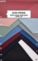 Liza 100% cotton twill plain shirting fabric