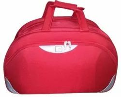 Red Nylon Casual Duffle Bag, For Travel