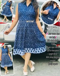 Super Rayon Indo Western Blue Printed Collar Button Dress Cum Kurti, 18-50
