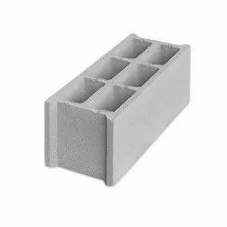Grey Rectangular Concrete Hollow Block