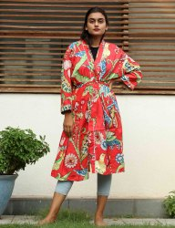 Bird Prnt cotton short Kimono Robe