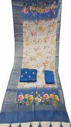 Cotton Unstitched 3 Pcs Printed Unstiched Suit, Machine wash