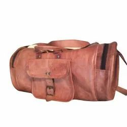 Unisex Brown 18X9 Inch Leather Luggage Bag