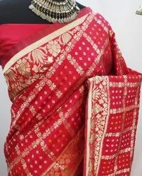 Party Wear Dupion Jacquard Silk Saree Bandhani, 6.3 m (With Blouse Piece)