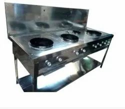 Three Burner Commercial Gas Stove, For Kitchen