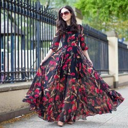 Women Stitch Black Georgette Floral Printed Festival Wear Gown, Size: 60''