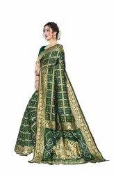 Leeza Store Festive Wear Jacquard Silk Bandhani Saree, 6.3 m (with blouse piece)