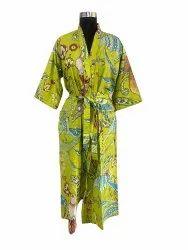 Screen Print Long kimono Robe
