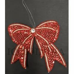 Handmade Christmas Beaded And Sequin Embroidery Hanging