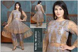 Kanishka Fashion Gray Ladies Designer Embroidery Pakistani Suit, Dry clean