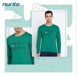 Round Green Men Full Sleeve T Shirts, Size: Large