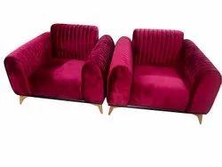 Modern Maroon Designer Velvet Sofa Chair, Back Style: Cushion, 4 Feet ( Height)