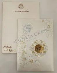Embossed White Flower Motif EP Foil Printed Wedding Card Invitation Card
