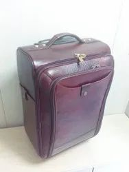 Brown Leather Luggage Trolley Bags