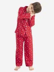 Pure Cotton Poplin Night Wear, Digital Prints, Red