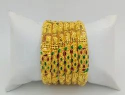 6 Pc Gold Plated Bangles