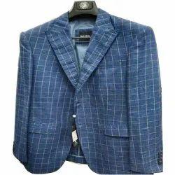 Formal Blue Men Check Blazer, Size: S-XL