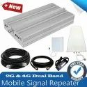 Dual Band Silver 2G 4G Mobile Network Amplifier Full Kit - Coverage Area 1500 Sq. Feet