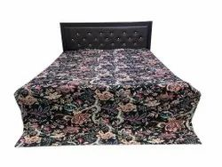 Black Floral Cotton kantha Bedcover