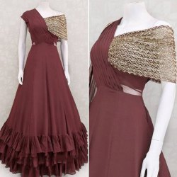 Party Wear Women Maroon Fancy Full Stitched Georgette Designer Gown, Size: 60''