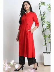 Janasya Women's Red Cotton Flex Kurta With Palazzo(J0144)