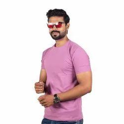 Half Sleeve Cotton Men Pink Round Neck T Shirt