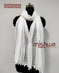 White Nazamin Pumpum Dyable Dupatta