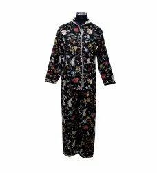 Black Screen Print Cotton Night Suit